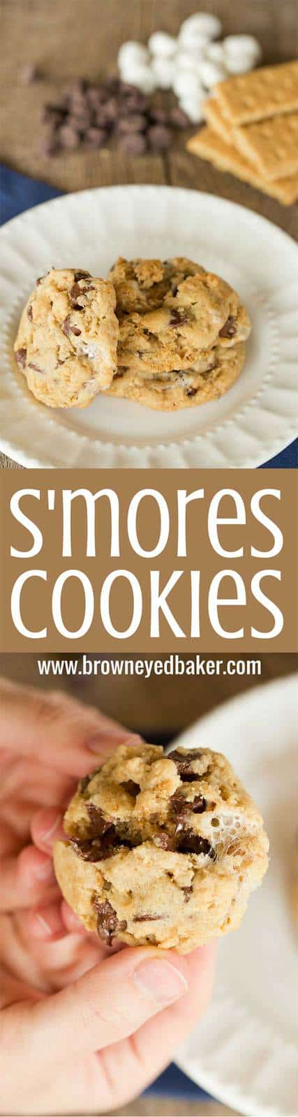 S'mores Cookies made with graham cracker crumbs, mini marshmallows and milk chocolate chips!   browneyedbaker.com