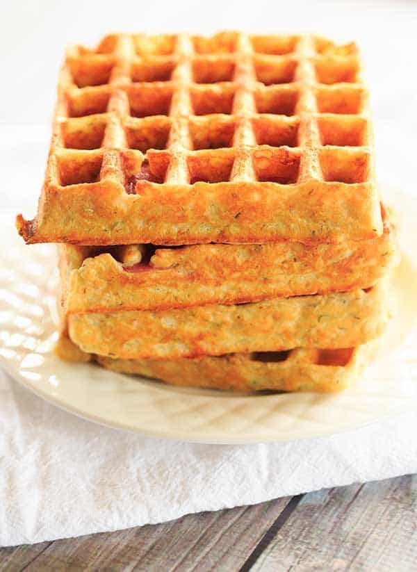 Savory Salami, Cheese & Herb Waffles | http://www.browneyedbaker.com/salami-cheese-waffles/