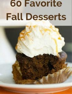 60 Favorite Fall Desserts - bars, cookies, cakes, cupcakes, pies and more!