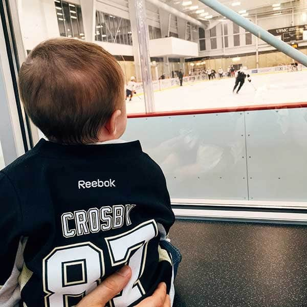 Joseph watching the Penguins practice | browneyedbaker.com