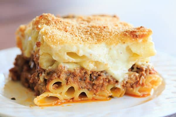 ... ziti pasta with a beef and lamb sauce, bechamel and loads of cheese