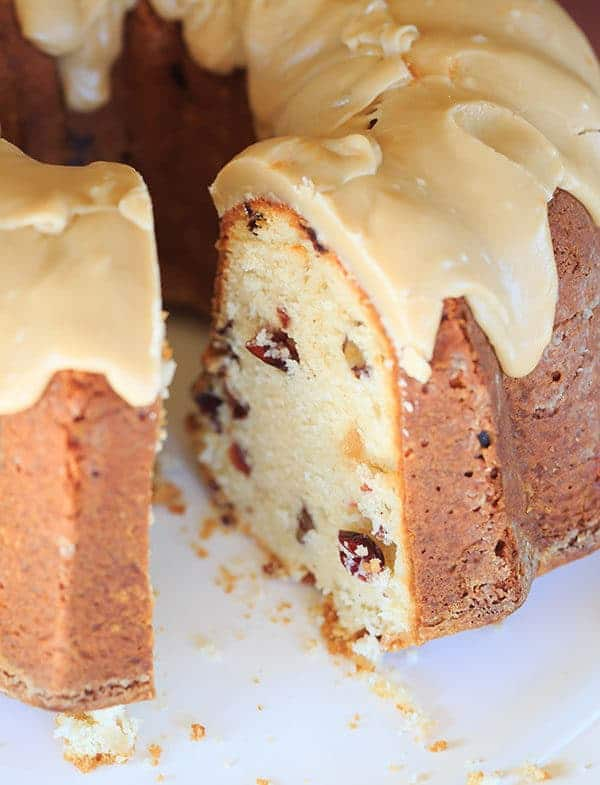 Cranberry-Pecan Pound Cake with Praline Frosting | Brown Eyed Baker