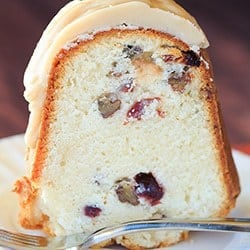 Cranberry-Pecan Pound Cake with Praline Frosting | http://www.browneyedbaker.com/cranberry-pecan-pound-cake/