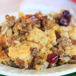 Sausage, Apple & Sage Stuffing made with Challah bread. | http://www.browneyedbaker.com/sausage-apple-sage-stuffing/