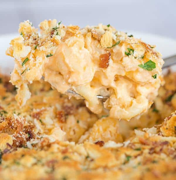 This is the ULTIMATE Baked Macaroni and Cheese recipe - A homemade sauce with tons of cheese plus bacon!