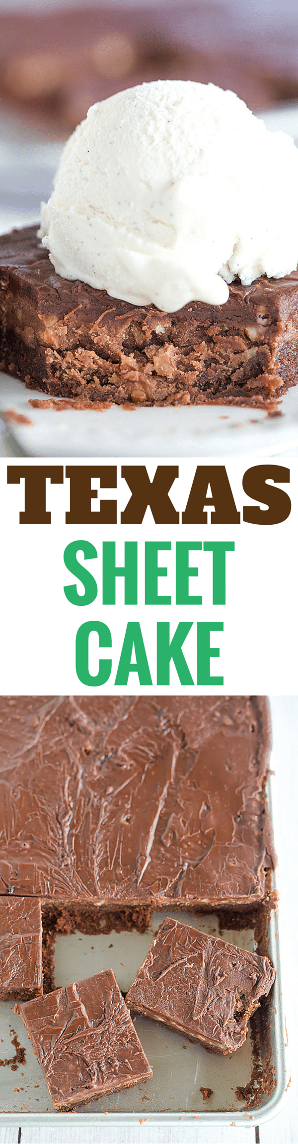 This classic Texas sheet cake has a thin layer of fluffy, moist chocolate cake and is topped with a fudge-like icing with chopped pecans.