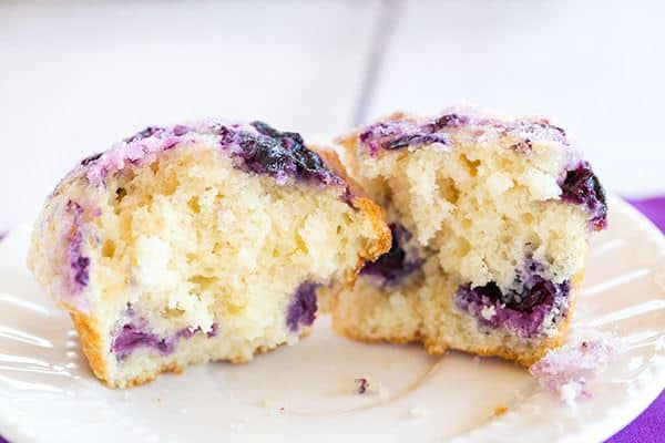 These blueberry muffins are loaded with fresh blueberries, have a fresh blueberry jam swirl throughout and are topped with sugar for a crunchy bite!