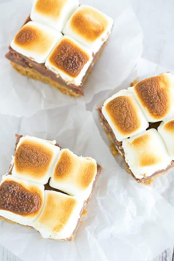 These s'mores bars boast a thick graham crust, a fudgy milk chocolate ...