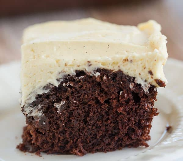 Wacky Cake! Chocolate cake with a simple vanilla frosting - the cake recipe, which uses no butter, eggs or milk, was popular during WWII when rationing was prevalent.
