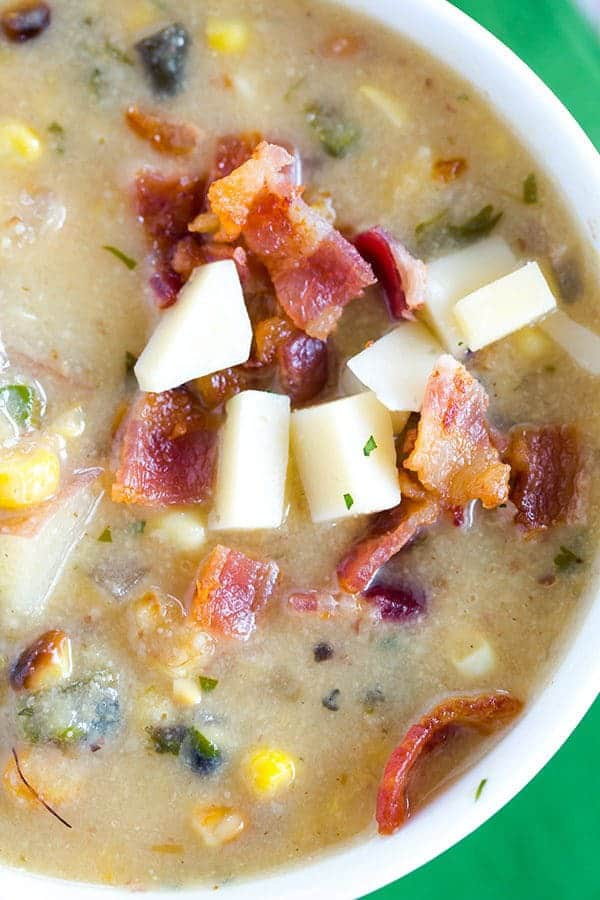 Roasted Corn & Poblano Chowder: Roasted corn and poblano chiles give ...