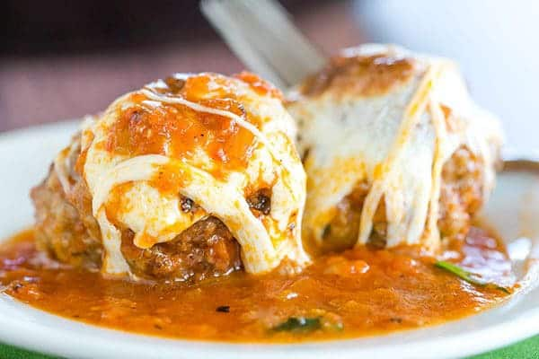 Skillet Meatball Parmesan: An easy skillet meal with awesome meatballs simmered in a tomato sauce and topped with lots of fresh mozzarella.
