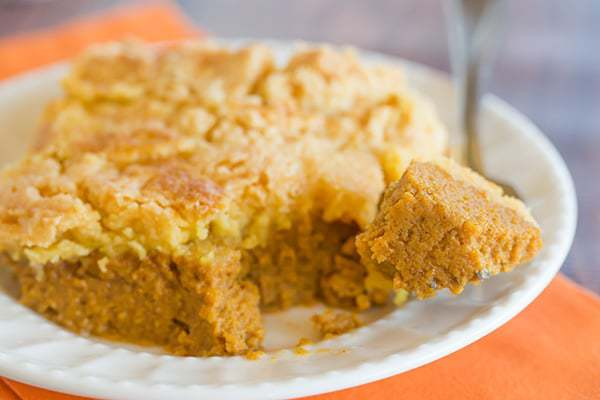 Pumpkin Yummy Dessert is made like a dump cake, with a pumpkin pie layer topped with a buttery cake layer. A quick and easy Thanksgiving dessert!