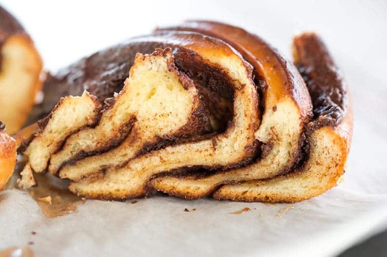 Chocolate Babka shaped into a braided wreath for the most decadent holiday breakfast (or dessert, or snack)! | browneyedbaker.com