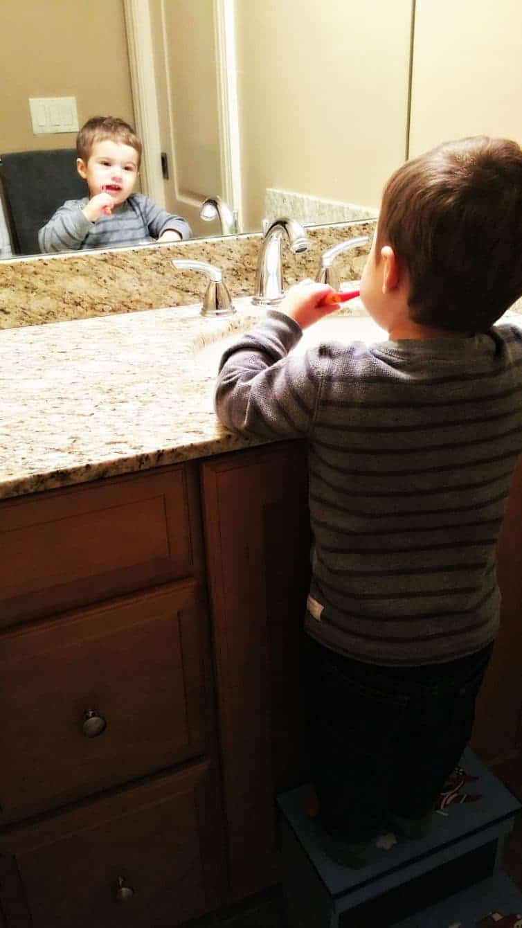 Joseph brushing his teeth before bed - such a big boy! | browneyedbaker.com