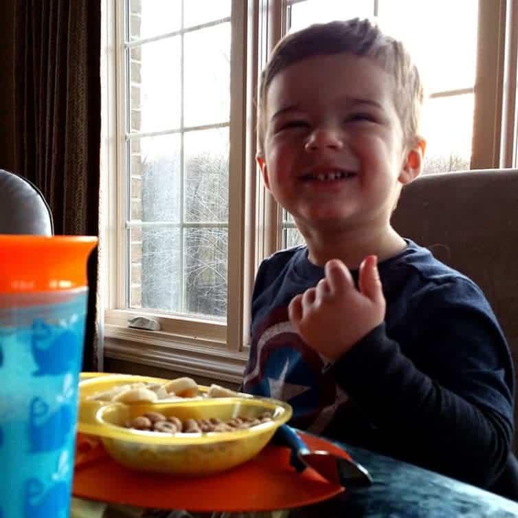 Joseph having breakfast (26 months)