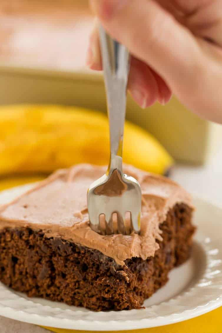 Chocolate Banana Cake with Chocolate Cream Cheese Frosting is easy, quick to make, extremely moist, and packed with tons of banana flavor.