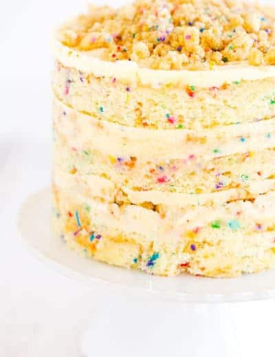 The famous Momofuku Milk Bar Birthday Layer Cake - Layers of funfetti cake loaded with sprinkles, vanilla frosting, and birthday cake crumbs!