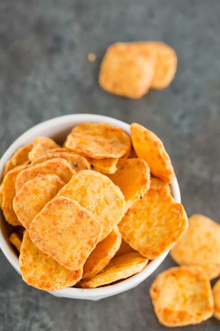 A bowl of homemade cheese crackers.