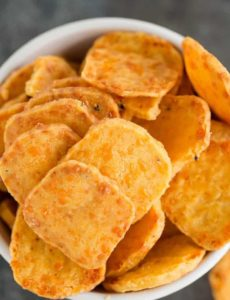 A closeup shot of homemade cheese crackers.