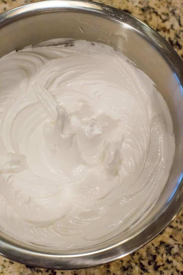 Glossy stiff meringue waiting to be baked up into pavlova!