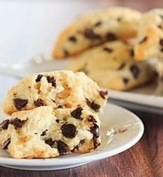 Chocolate Chip Scones - wonderfully tender and perfect alongside a cup of coffee for breakfast or dessert! | https://www.browneyedbaker.com/chocolatey-morning-goodness/