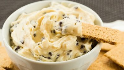 Chocolate Chip Cookie Dough Dip - A sweet, creamy dip that tastes like chocolate chip cookie dough without the guilt of raw egg! | browneyedbaker.com #recipe