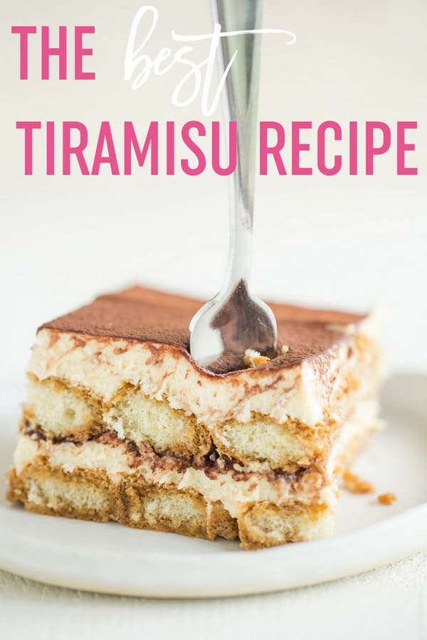 The BEST tiramisu recipe! Layers of mascarpone custard, espresso and Kahlua-soaked ladyfingers, and cocoa powder make up this traditional Italian dessert. #browneyedbaker #tiramisu #italianrecipes #dessert #mascarponecheese