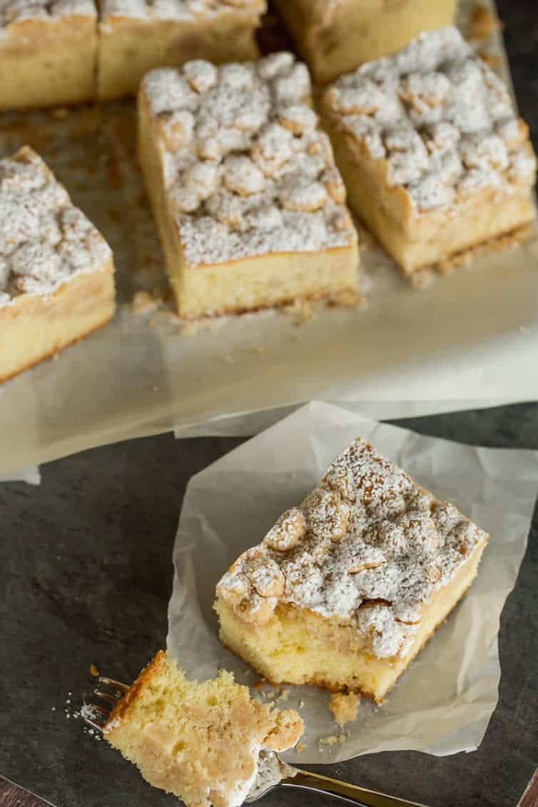 An overhead shot of slices of crumb cake.