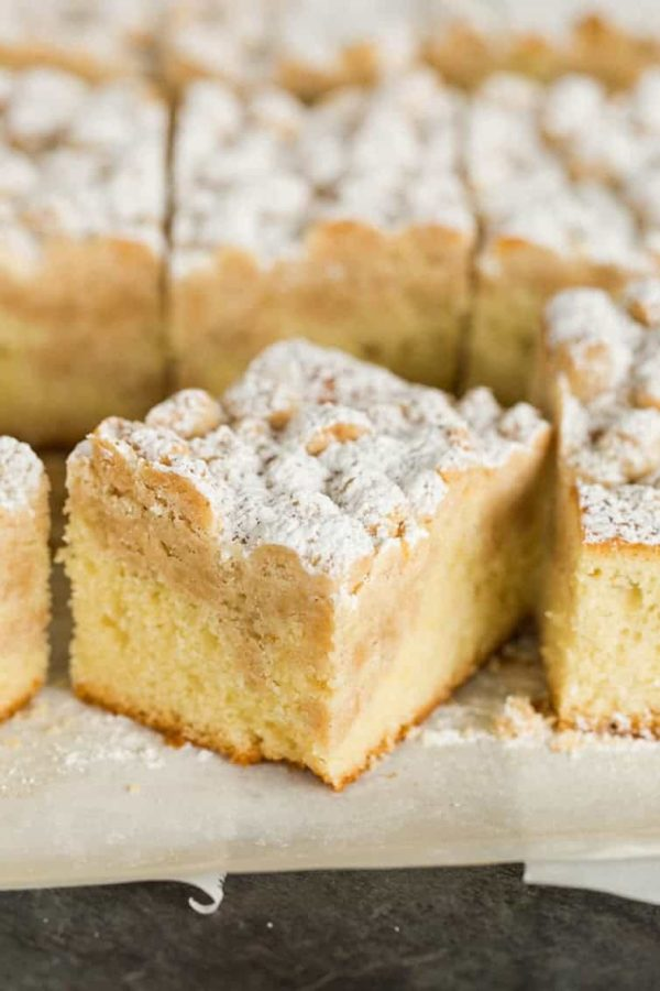 Slices of New York-style crumb cake.