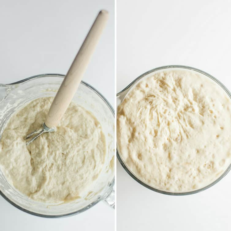 Before and after pictures of the sponge for bagel dough.