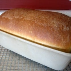 Sandwich bread loaf in a baking pan on a cooling rack.
