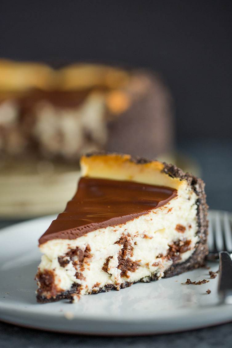 A gorgeous slice of brownie mosaic cheesecake.