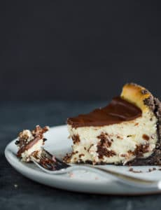 A side view of Brownie Mosaic Cheesecake