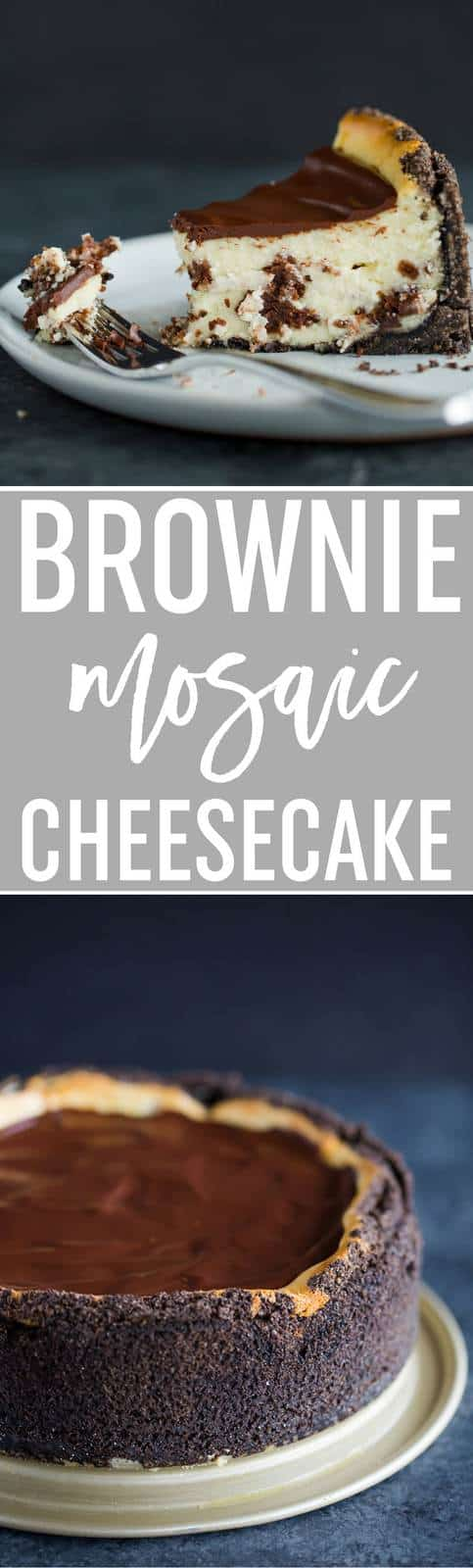 Brownie Mosaic Cheesecake :: A luscious cheesecake with cubes of brownies baked right inside, with an Oreo crumb crust and chocolate ganache topping. #recipe #cheesecake #brownies #baking #dessert
