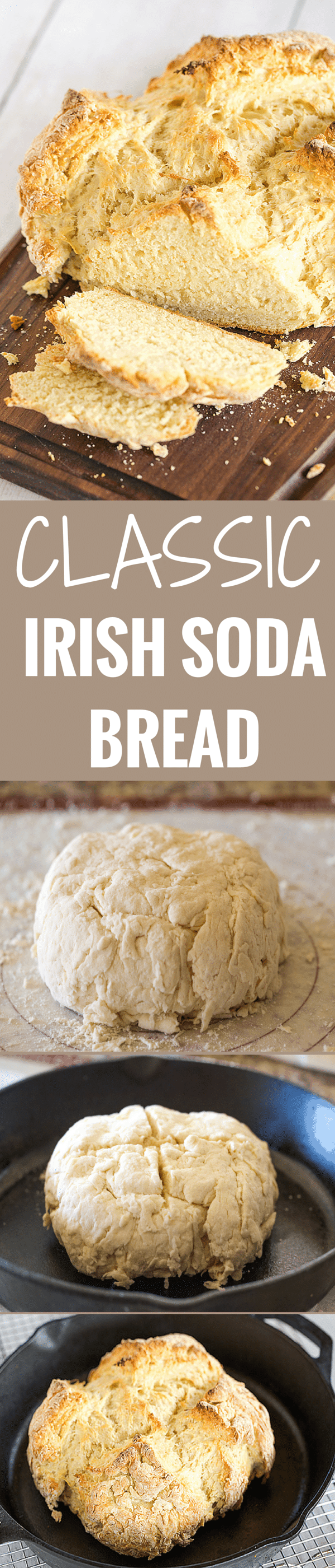 Classic Irish Soda Bread - Takes less than 10 minutes to mix together! Grab a slice warm from the oven and slather it in butter for St. Patrick's Day breakfast!