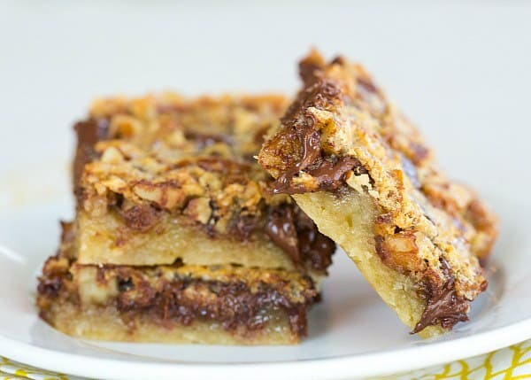 Chocolate Chip-Pecan Pie Bars - Perfectly portable Thanksgiving dessert! | browneydbaker.com