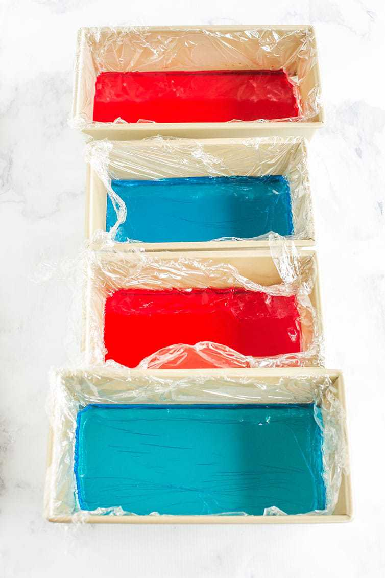 Prep work for red, white & blue stained glass Jello stars