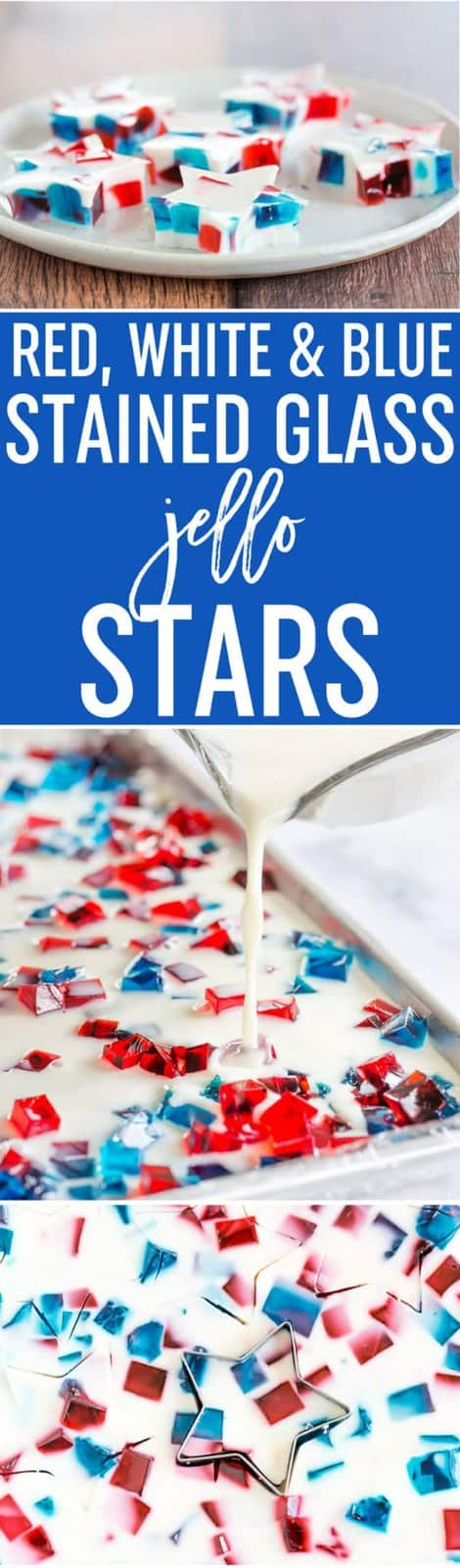 Red, White & Blue Stained Glass Jello Stars - A fun and easy treat for your 4th of July celebration!