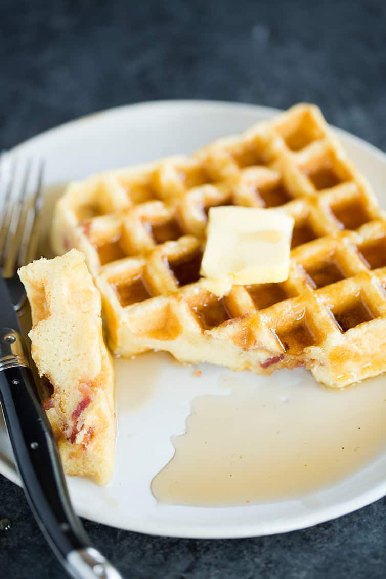 These Brown Sugar-Bacon Buttermilk Waffles are irresistible!