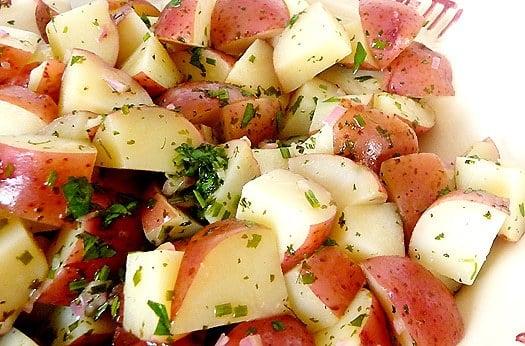 Potato salad in a serving dish.