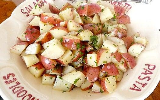 Potato salad in a serving bowl.