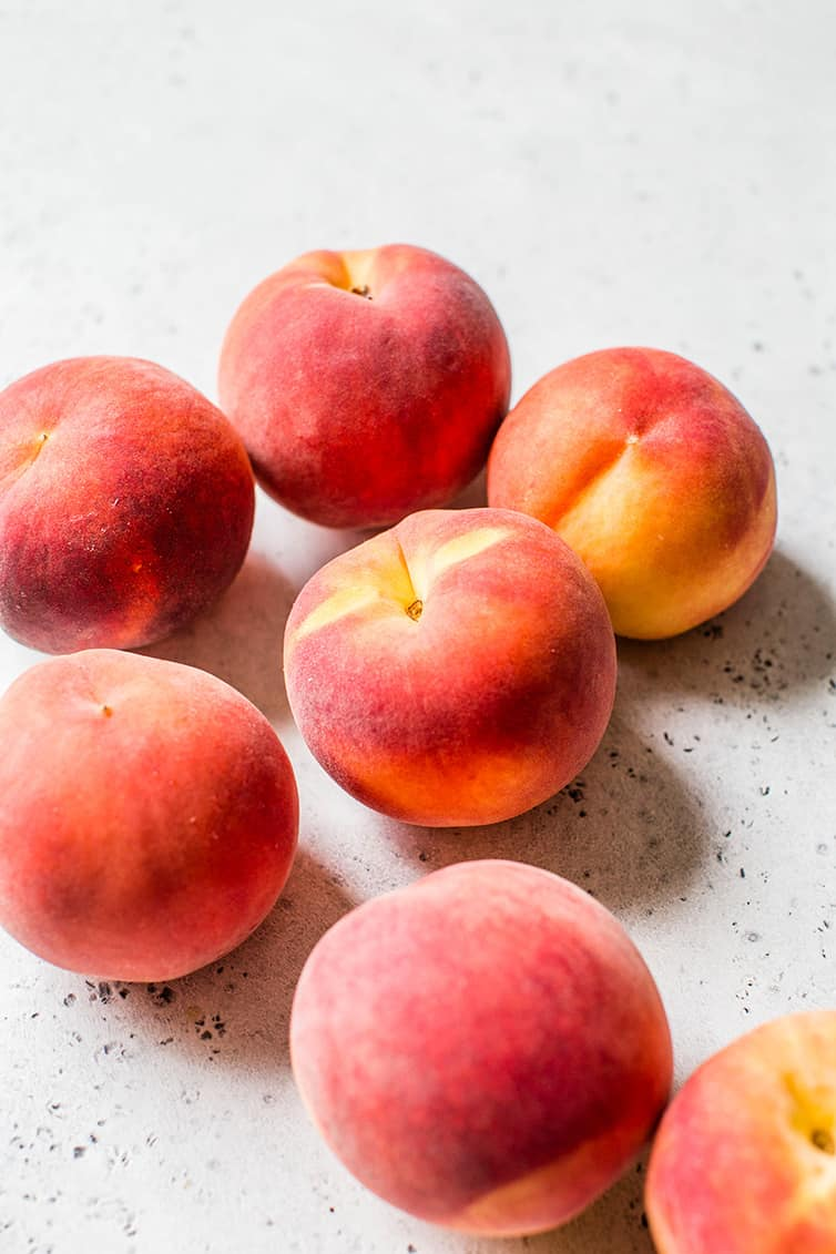 Fresh peaches about to be turned into peach crumb bars.