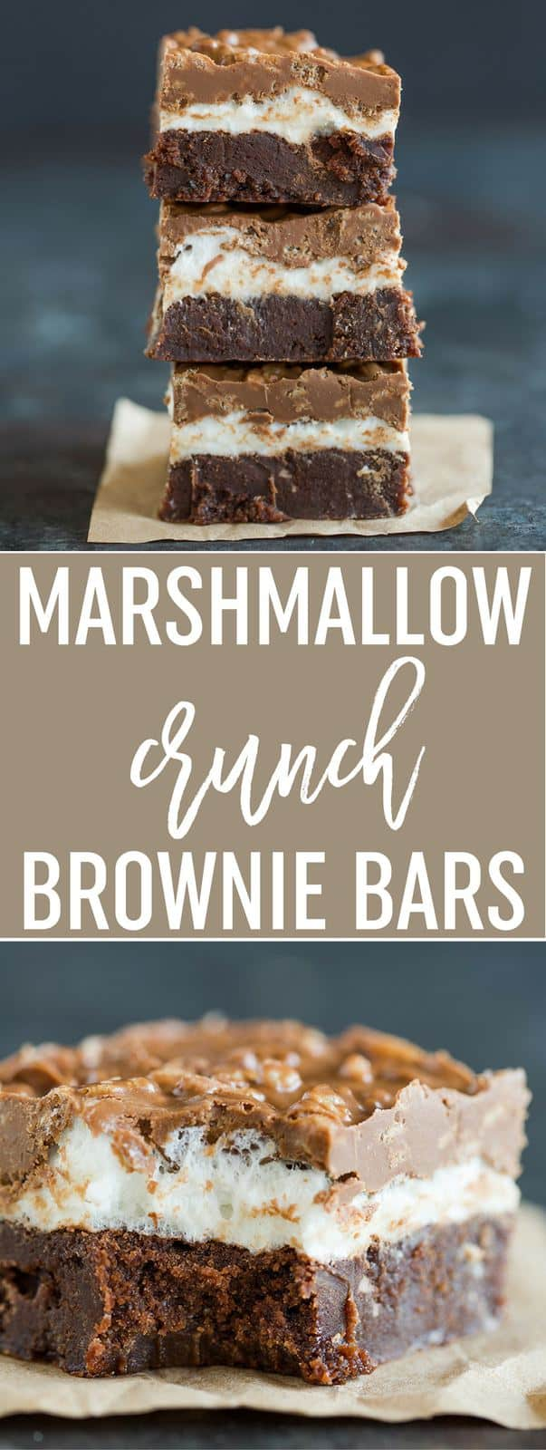 Marshmallow Crunch Brownie Bars - Super fudgy brownies topped with a marshmallow layer and a chocolate, peanut butter and Rice Krispies mixture. A huge crowd favorite!