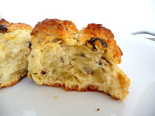 Irish soda bread scones on a white plate.