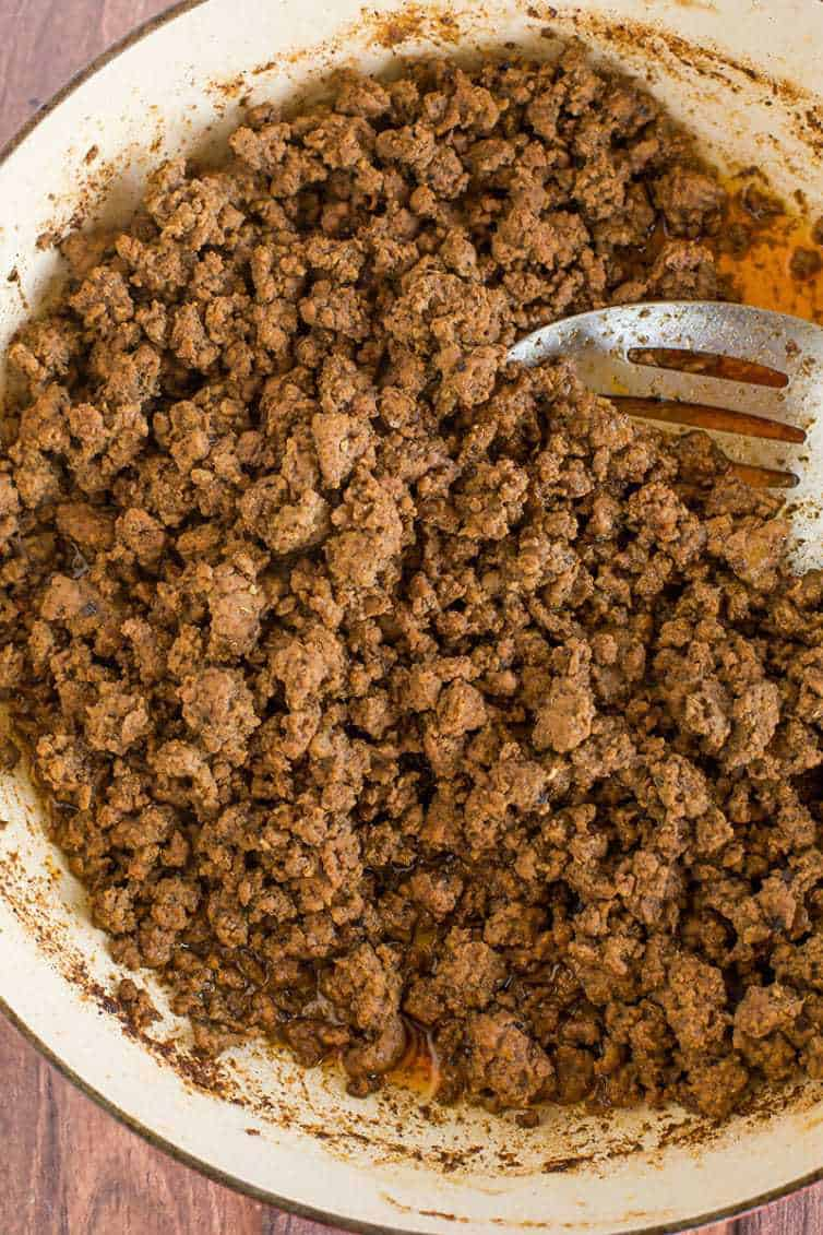Cooked taco meat for beef tacos using homemade taco seasoning mix.