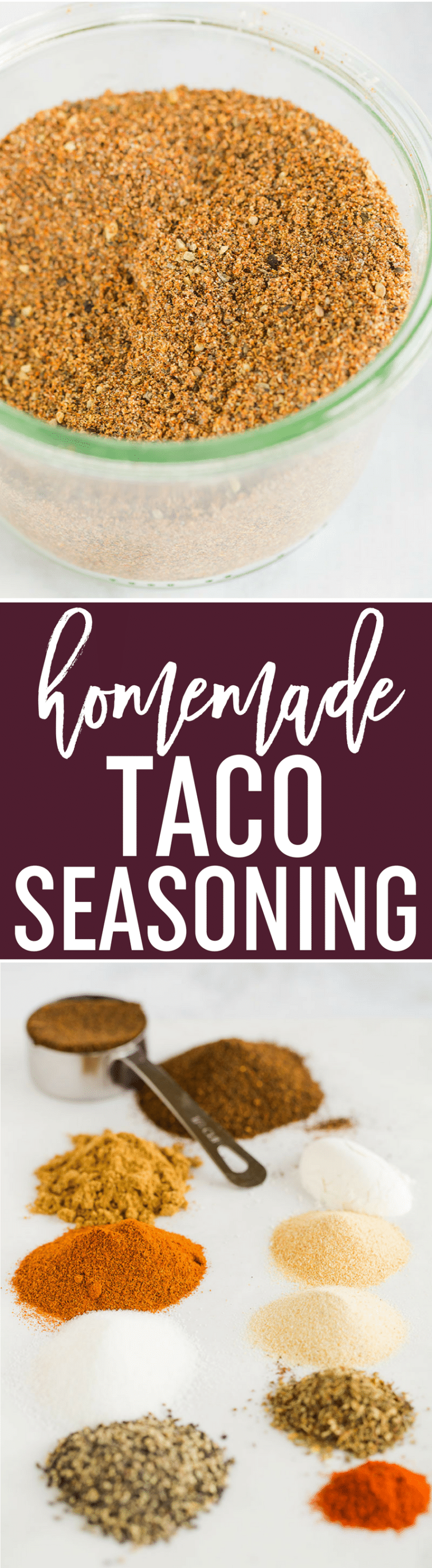Homemade Taco Seasoning - This easy homemade taco seasoning mix can be made in just five minutes! Keep it in the pantry for quick taco nights with no preservatives.