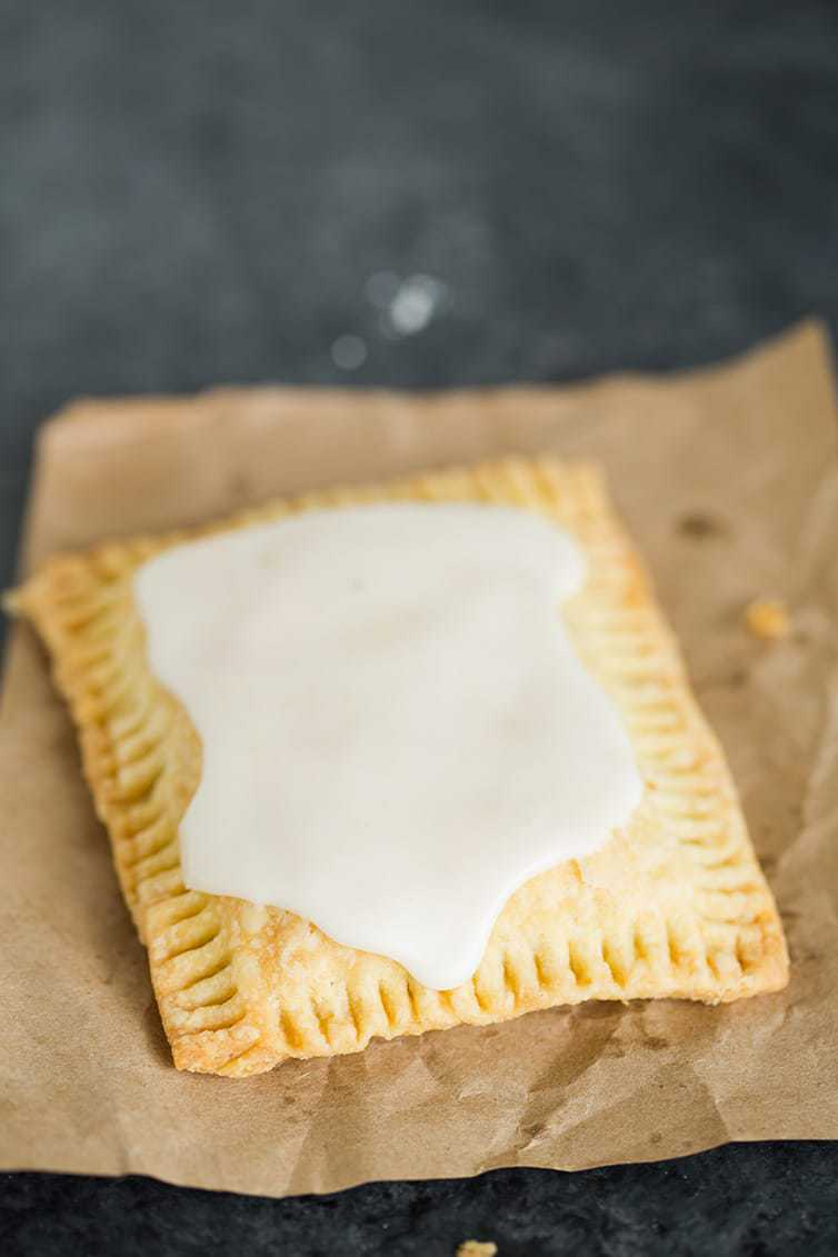 A homemade frosted strawberry pop tart.