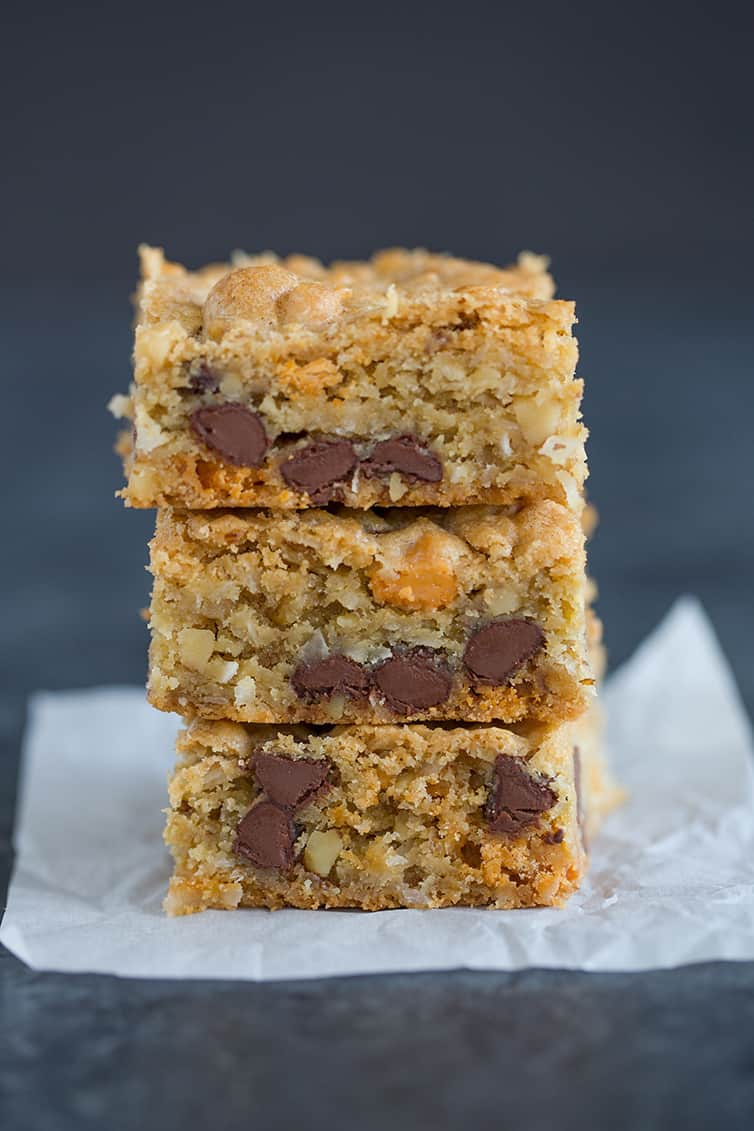 A big stack of Chewy, Chunky Blondies!