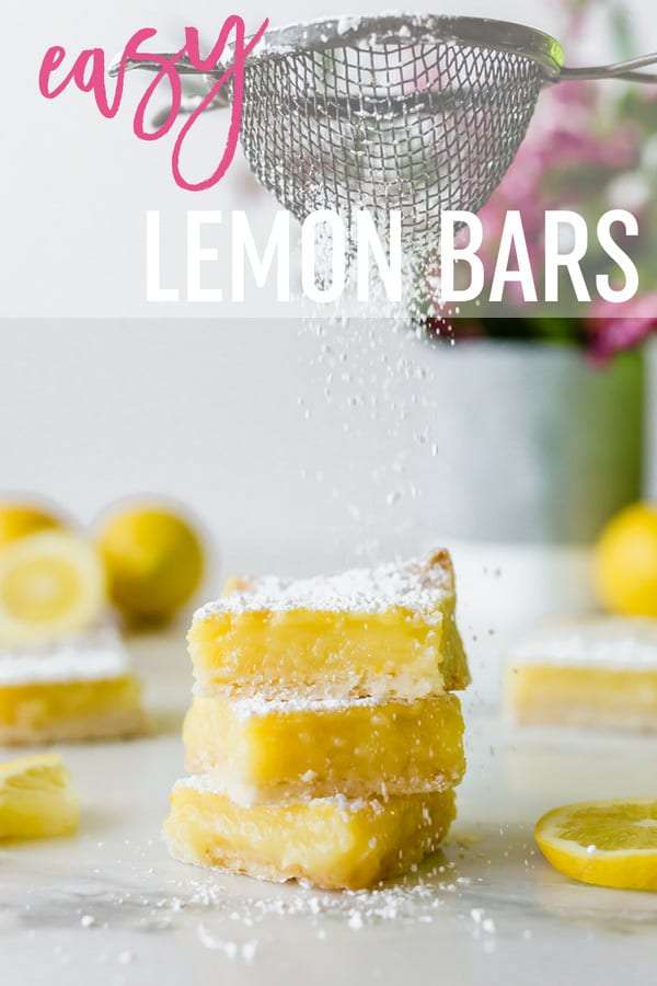 These easy Lemon Bars have a shortbread-style crust and a silky smooth, slightly tart, sweet lemon custard on top. All they need is a dusting of powdered sugar! #browneyedbaker #lemonbars #lemonsquares #dessert #baking #lemons #summer