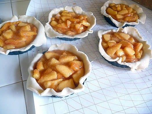 Peach Pie Tartlets being prepped